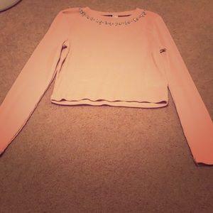 Pink long sleeve beaded crop top